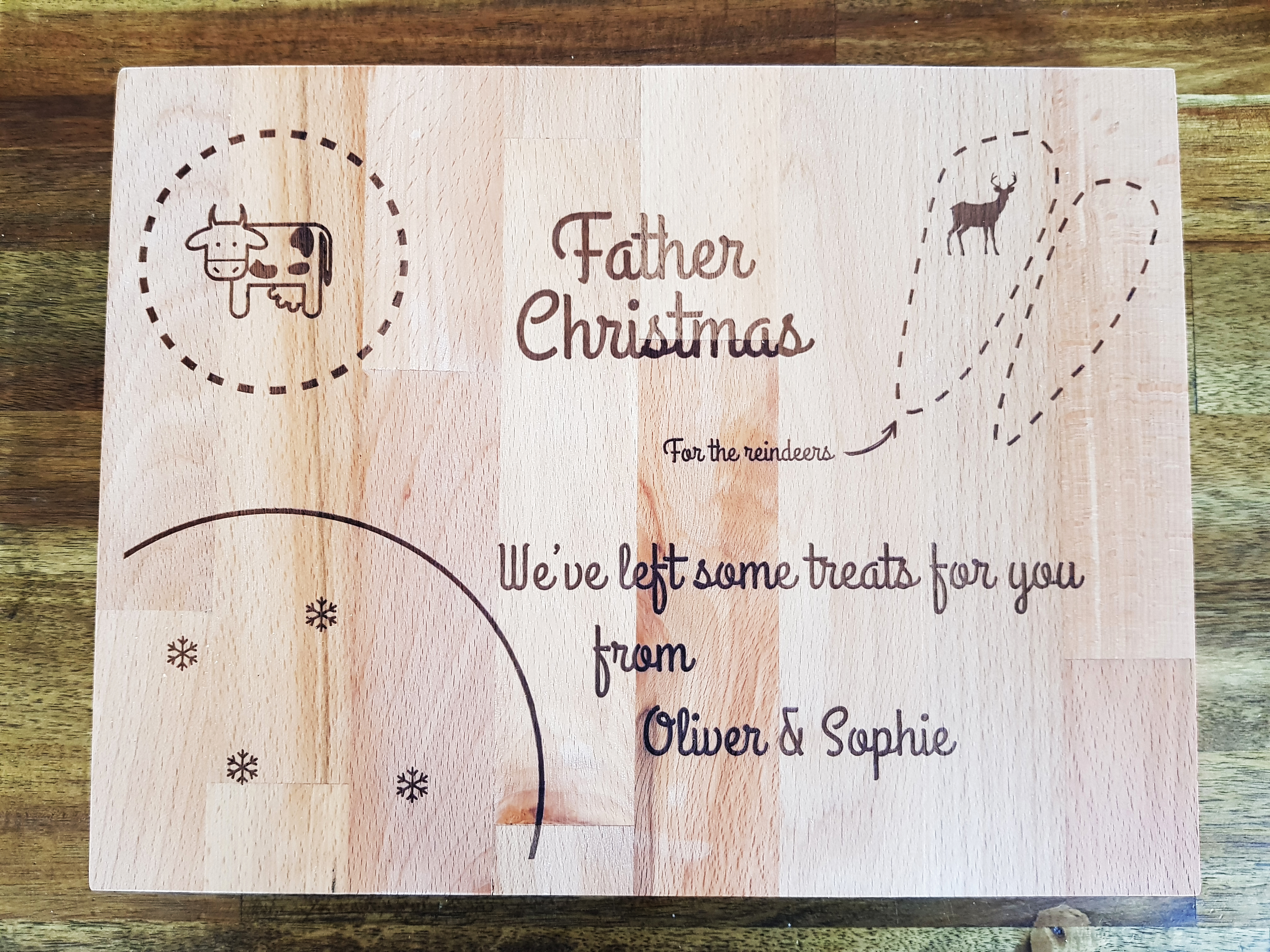 Father Christmas Eve Treat Chopping Cutting Board Milk
